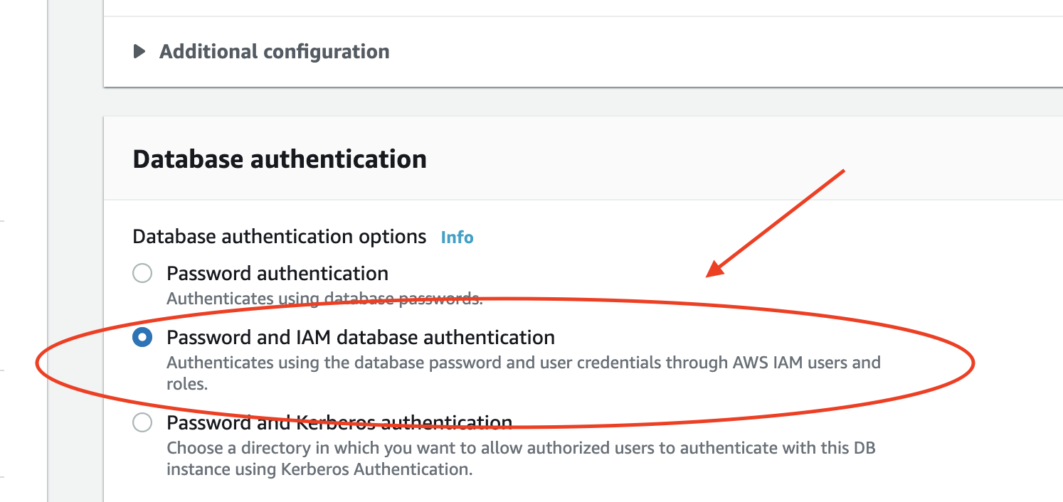 Enable IAM database authentication.