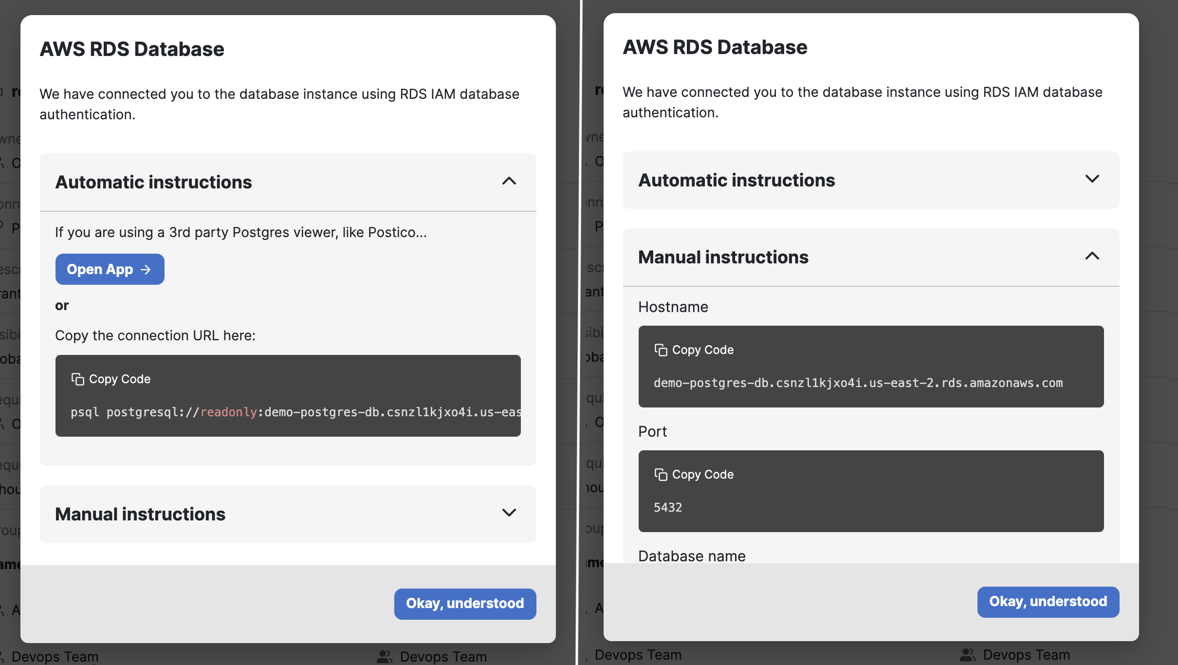 Automatically connect to your database or use manual configuration.