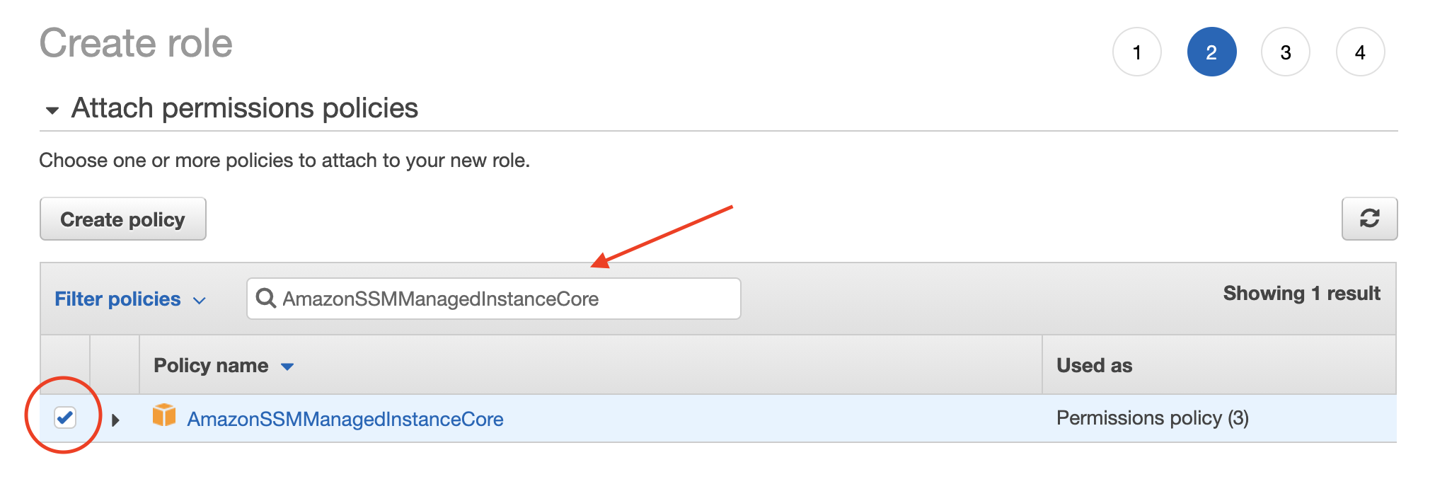 Find the policy that enables SSM on your instance.