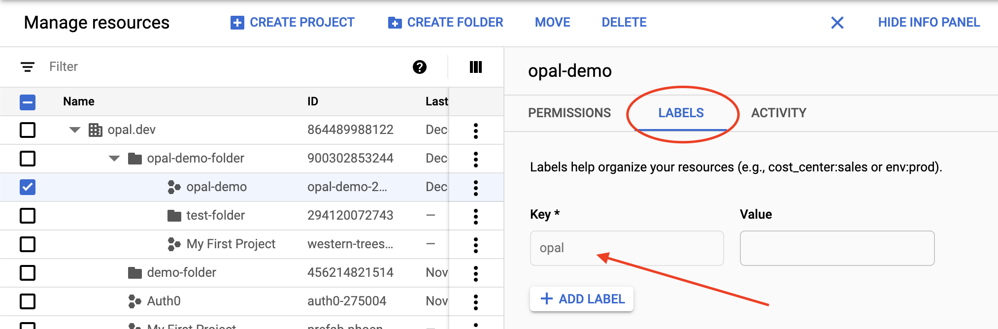 Adding a label to a project in GCP.